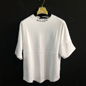 Palm Angels Men Printed White T-Shirt Over Size